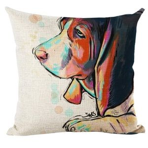 "Bassett Hound Throw Pillow Cover 18"" x 18"" NWT"